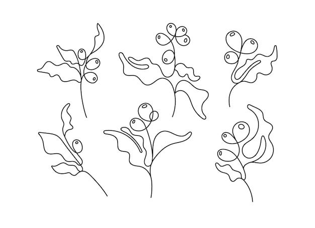 Искусство линия набор кофейное дерево ветка фасоль абстрактный рисованной логотип коллекция эскизов тропической флоры