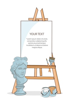 Art materials, easel canvas for drawing. the plaster head of david.