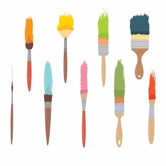 Art materials set of synthetic brushes for painting