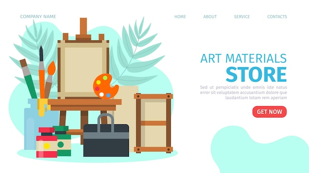 Art materials store web page vector illustration mobile online market with oil paint brush watercolo...