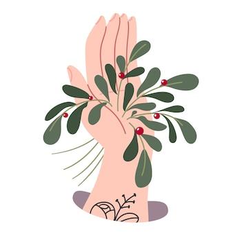 Art. mistletoe grows from the hand.meet me under the mistletoe.illustration for children's book.