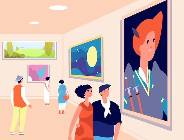 예술 박물관. 현대 예술가 전시회, 현대 갤러리. 예술적 그림을 보는 사람들