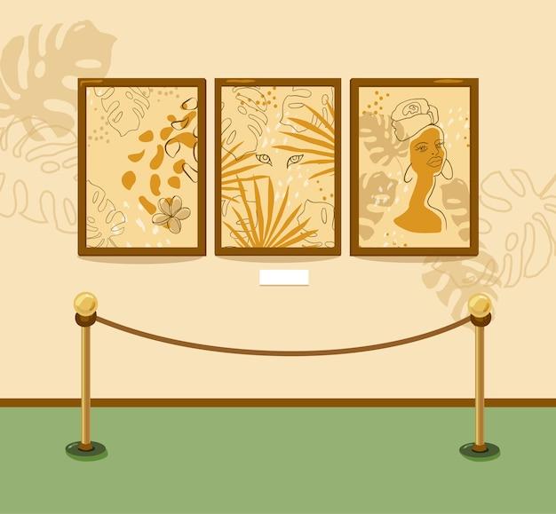 현대 회화 미술관. 갤러리. 그림은 프레임으로 벽에 걸려 있습니다. 개체가 격리됩니다. 배너 및 전단지. 프리미엄 벡터