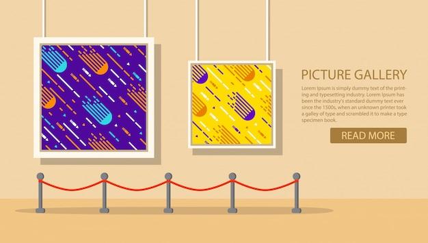 현대 회화의 미술관. 사진 갤러리. 전시.