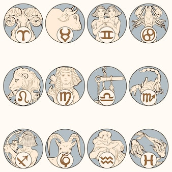 Vettore di 12 segni zodiacali in stile art nouveau, remixato dalle opere di alphonse maria mucha