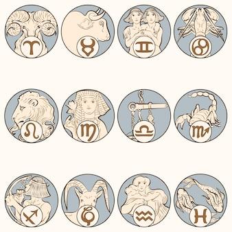 Alphonse maria mucha의 작품에서 리믹스된 아르누보 12궁도 표지판 벡터