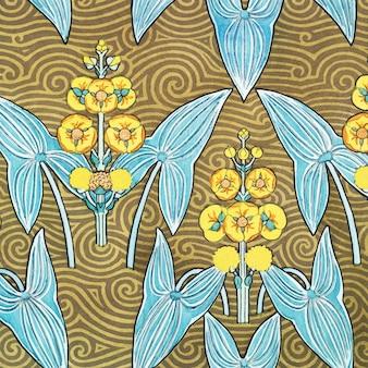 아르누보 화살촉 꽃 패턴 배경