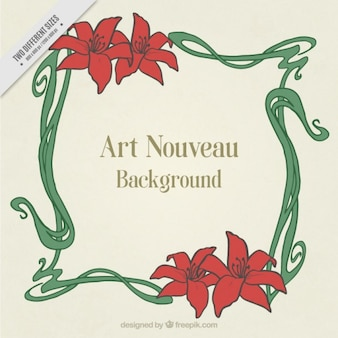 Art nouveau background with floral frame