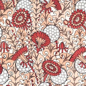 アール ヌーボー タンポポの花模様の背景