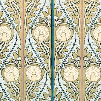 아르누보 민들레 꽃 패턴 배경