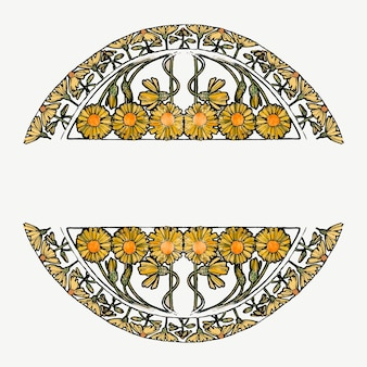 Art nouveau flower frame, remixed from the artworks of alphonse maria mucha
