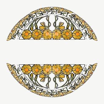 アルフォンス マリア ミュシャのアートワークからリミックスされたアール ヌーボー様式のフラワー フレーム