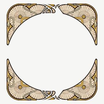 アルフォンス マリア ミュシャのアートワークからリミックスされたアール ヌーボー フレーム要素