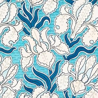 아르누보 아이리스 꽃 패턴 배경
