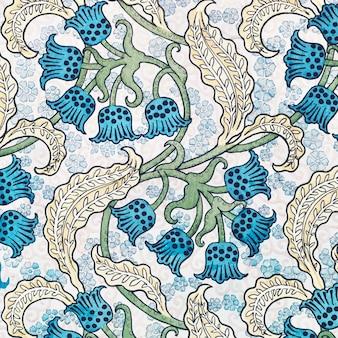 アール ヌーボーのスズランの花柄の背景