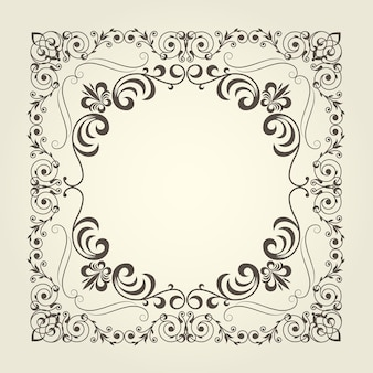 Art nouveau ornamental square frame with curly pattern