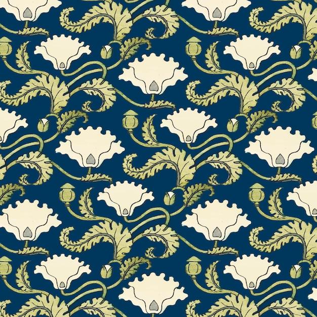 아르누보 양귀비 꽃 벡터 패턴 디자인 리소스