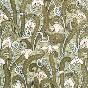 Fondo del modello di fiore di bucaneve in stile art nouveau