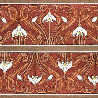 Priorità bassa del reticolo di fiore di bucaneve art nouveau