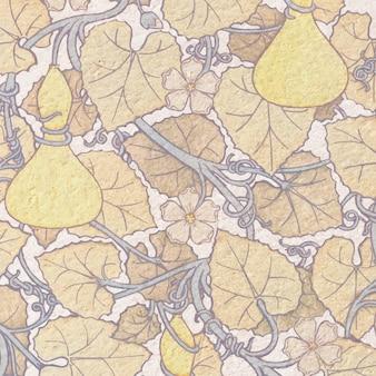 아르누보 흰색 꽃 조롱박 꽃 패턴 배경