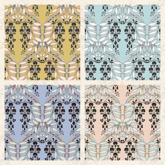Art nouveau wisteria flower pattern collection