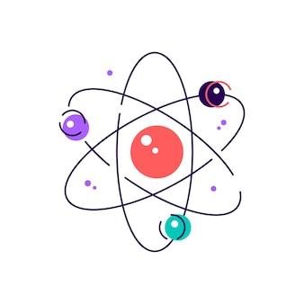 궤도에 전자가있는 다채로운 원자 다이어그램의 예술