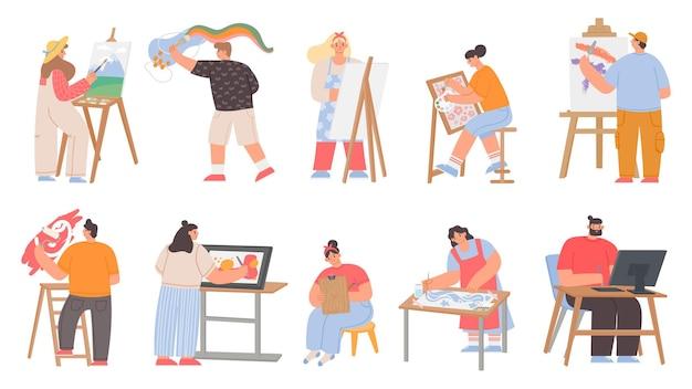 아트 페인터, 디지털 아티스트 및 그래픽 디자이너 캐릭터. 남자와 여자는 캔버스 이젤에 그림을 그립니다. 크리에이 티브 작업 또는 취미 벡터 집합입니다. 그래픽 페인터 및 디지털 아티스트의 그림