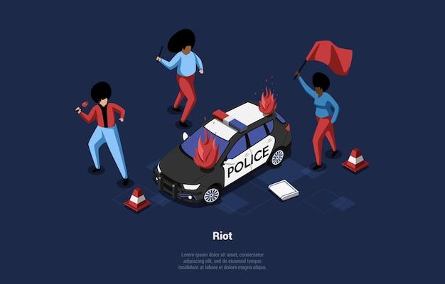 Art on people riot idea. 3d isometric illustration in cartoon style