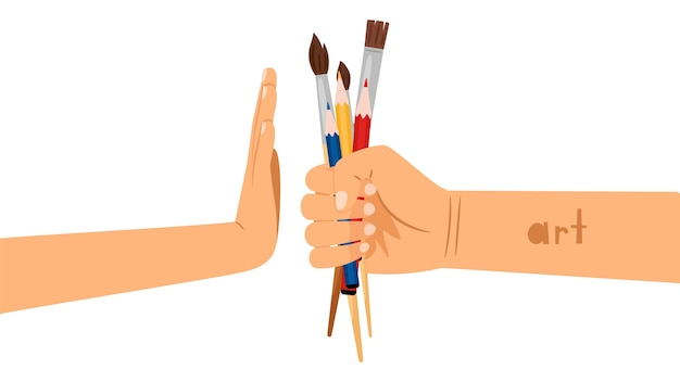 Art rejection flat concept illustration. hand holding brushes and pencils painting supplies. arm showing stop gesture isolated on white.