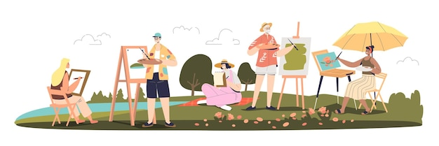 Art school class outdoors with different painters drawing landscapes in open air. group of plein air artists painting. cartoon flat vector illustration