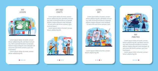 Art school education mobile application banner set. student holding art tools learning how to draw and craft. music instrument playing, dancing, acting and sculpting classes. flat vector illustration