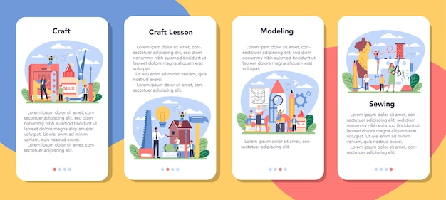 Art school education mobile application banner set