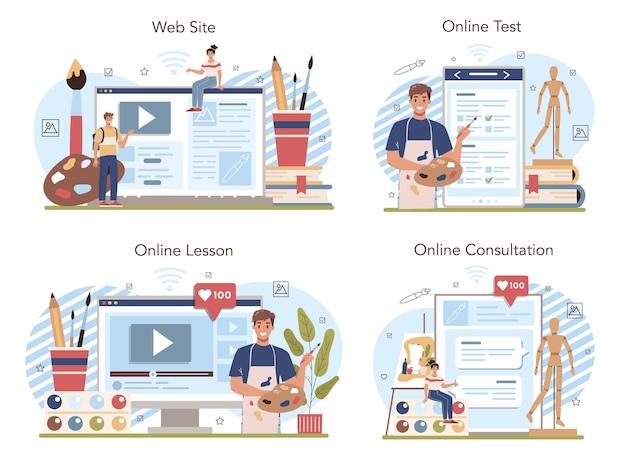 美術学校教育オンラインサービスまたはプラットフォームセット。絵を描く方法を学ぶ学生。絵画、スケッチ、カラーリングのクラス。オンラインレッスン、テスト、相談、ウェブサイト。フラットベクトル図