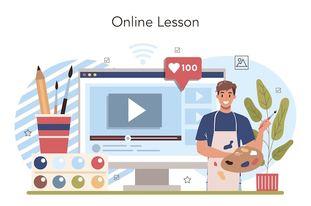 미술 학교 교육 온라인 서비스 또는 플랫폼. 학생 학습