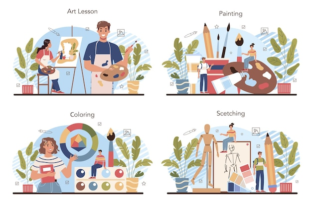 미술 학교 교육 세트입니다. 미술 도구 학습을 들고 학생