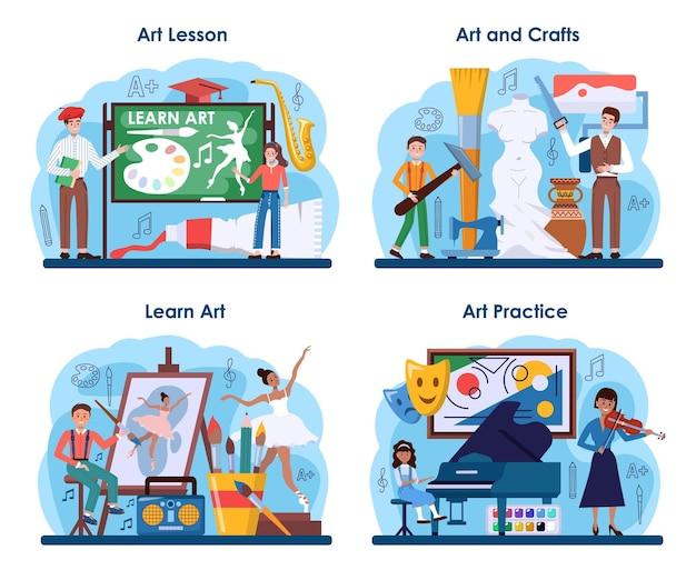Набор образования художественной школы. студент, держащий художественные инструменты обучения