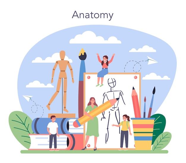 美術学校教育。ブラシと絵の具を持っている学生。子供たちが描くことを学ぶアーティスト。解剖学の絵画のレッスン。