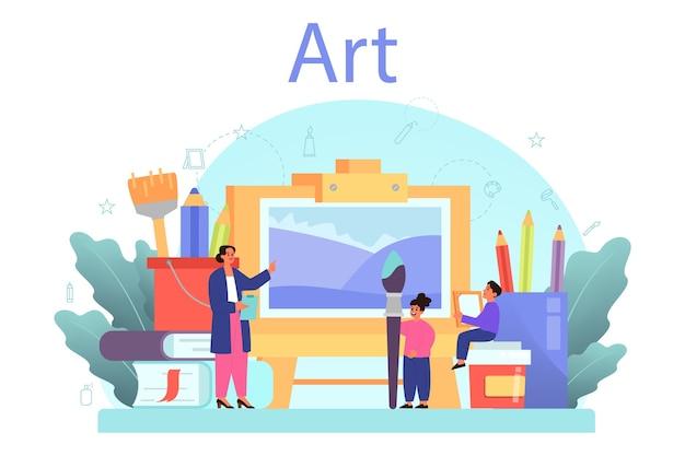 미술 학교 교육. 브러시와 페인트를 들고 학생입니다.