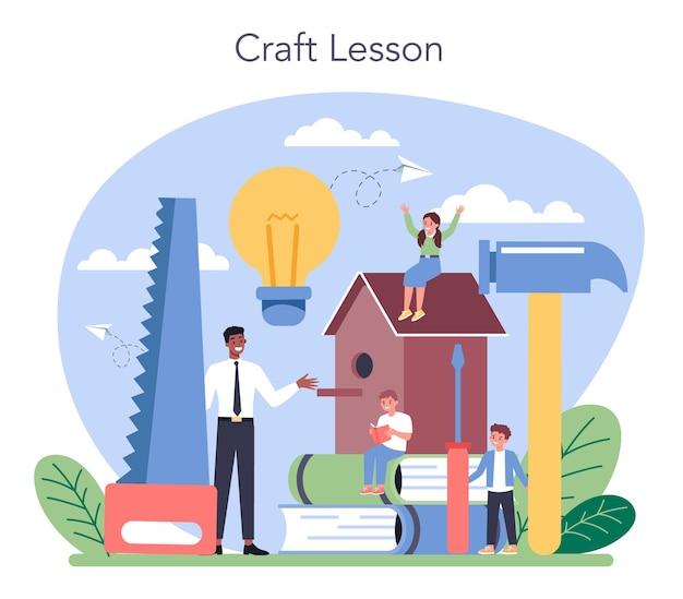 Обучение в художественной школе. ученик держит художественные инструменты. учитель учит детей ремеслу. лепка, скульптура и шитье.