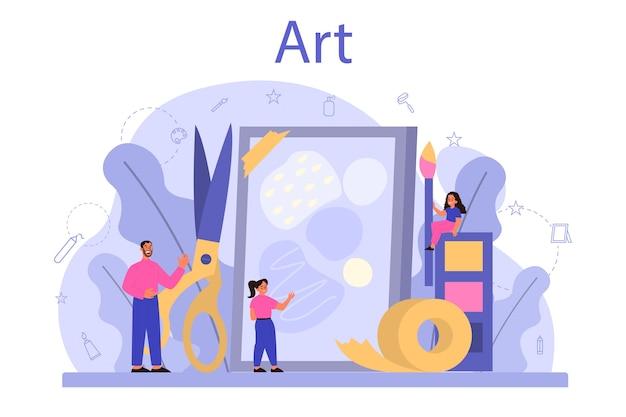 미술 학교 교육. 미술 도구를 들고 학생입니다.