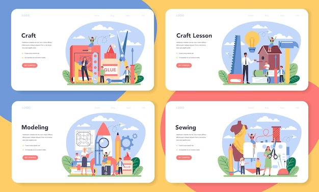 Art school education web banner or landing page set