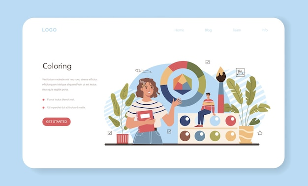 Art school education web banner or landing page. student holding