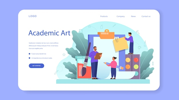 Art school education web banner or landing page