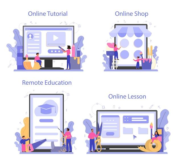 미술 학교 온라인 서비스 또는 플랫폼 세트