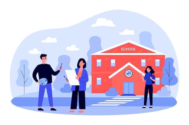 미술 학교 학생들이 밖에 서서 이야기하고 있습니다. 팔레트와 붓을 들고 있는 남자, 인사하는 친구, 평평한 벡터 삽화를 들고 있는 여자. 교육, 화가, 우정 개념