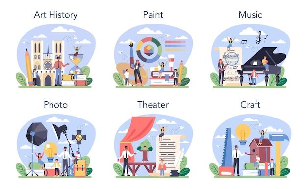 Набор предметов художественной школы или учебный класс. студент, изучающий художественные направления