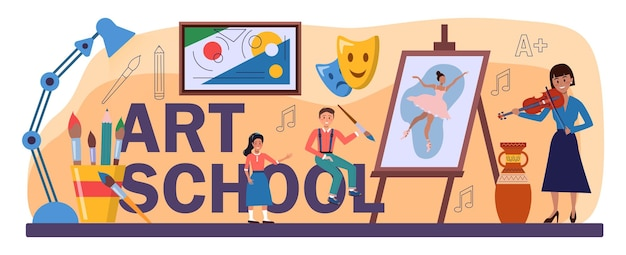 Типографский заголовок школы искусств. студент, держащий художественные инструменты, учится рисовать