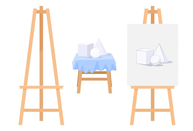 Art set with easel and canvas illustration