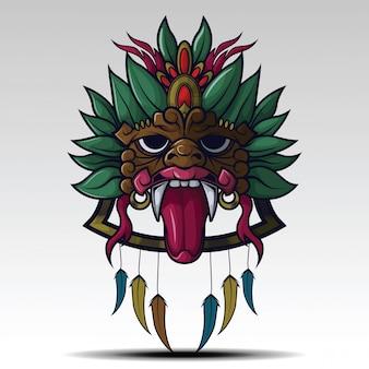 Art of shaman mask tattoo concept.