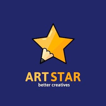 아트 스타, 엠블럼 또는 로고 템플릿. 타이 포 그래피와 창조적 인 연필 개념 기호입니다.
